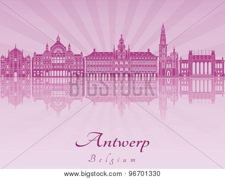 Antwerp Skyline In Purple Radiant Orchid