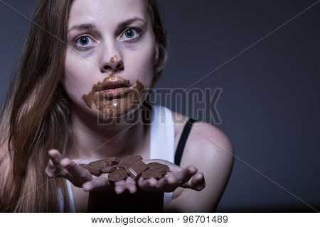 Bulimic Girl And Snack
