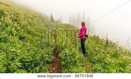 Woman Hiking On A Foggy Day