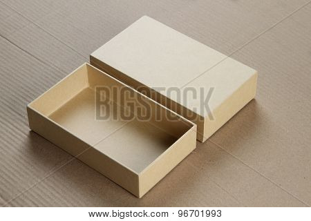 Open Blank Cardboard Box For Mockup