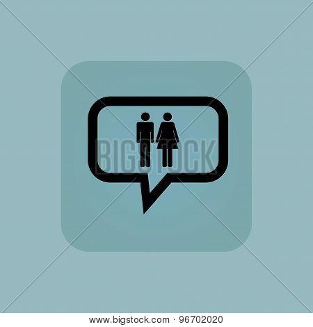 Pale blue man woman message
