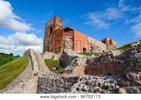 Ruins Of Upper Castle Vilna Against Bright Blue Sky, Vilnius, Lithuania
