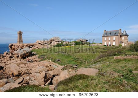 France, The Lighthouse Of Ploumanach In Brittany