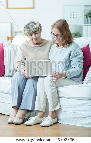 Elderly Woman Leraning Computer Skills