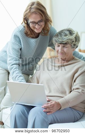 Carer Teaching Old Woman