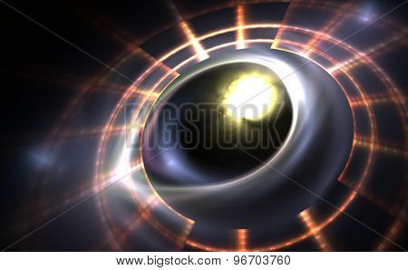 Digitally Generated Image Of Colorful Light And Abstract Shapes Over Black Background