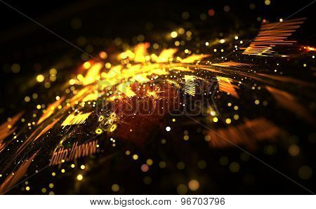 Digitally Image Of Colorful Light And Abstract Shapes Over Black Background, Internet Concept