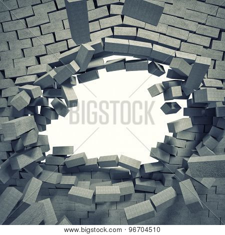 3d image of breaking concrete wall