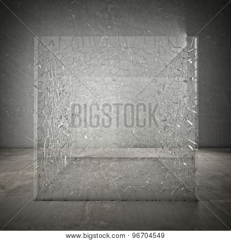 broken glass cube 3d image