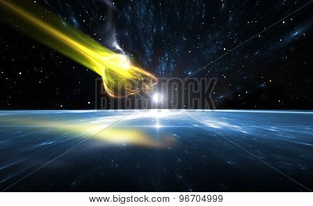 Falling Comet And Blue Planet Earth, Illustration