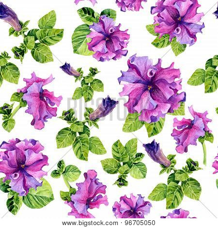 Vector Seamless Background With Watercolors Lilac Petunia On White Background