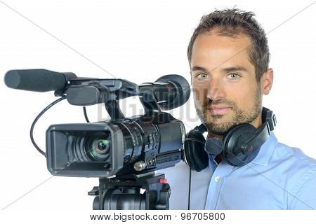 Young Man With Professional Movie Camera