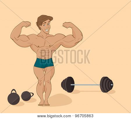 muscular man bodybuilder - inflated athlete  in cartoon style