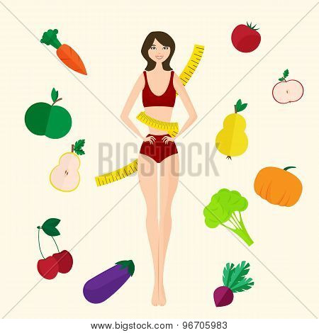 Slim girl, fresh fruits and vegetables. Proper lifestyle