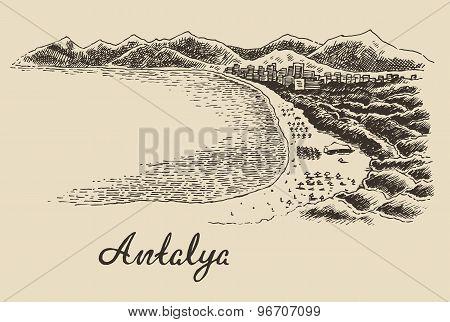 Antalya skyline vintage engraved vector hand drawn