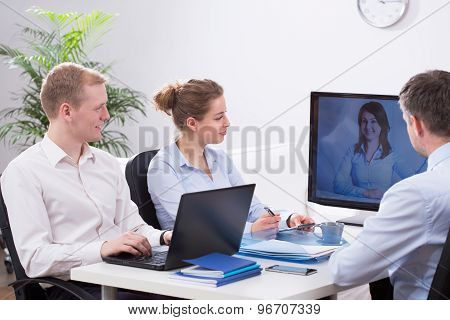 Businesspeople And Video Conference
