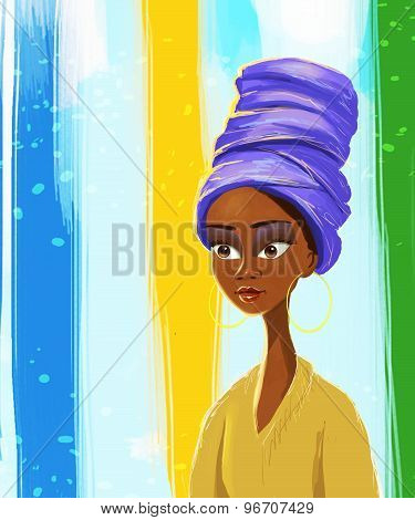 Beautiful African woman portrait painting