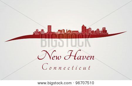New Haven, Ct Skyline In Red
