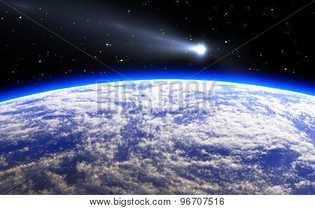 Comet And Blue Planet Earth, Illustration
