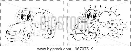 Funny Car Drawing With Dots And Digits