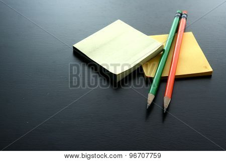Notepad and colored pencils