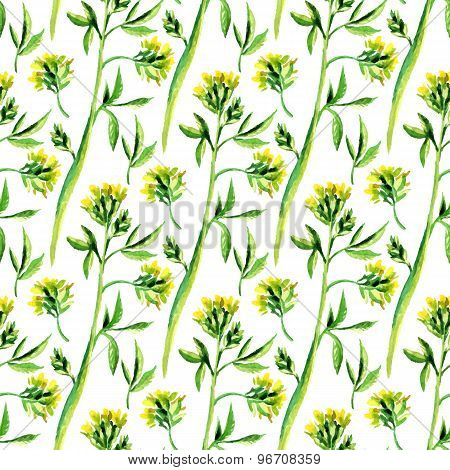 Seamless Vector Pattern With Watercolor Floral Elements