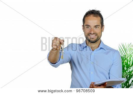 A Young Man Shows House Keys
