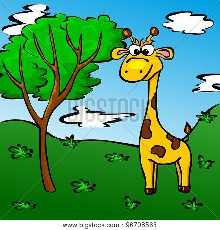 Funny Cartoon Giraffe In The Forest
