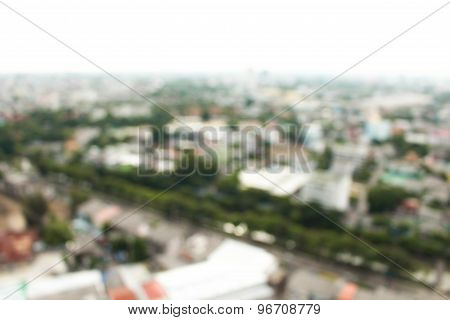 Cityscape From Higher Place, Blurry Image Used For Background.