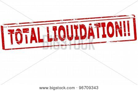 Rubber stamp with text total liquidation inside vector illustration
