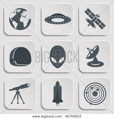 Flat illustration of various space elements.
