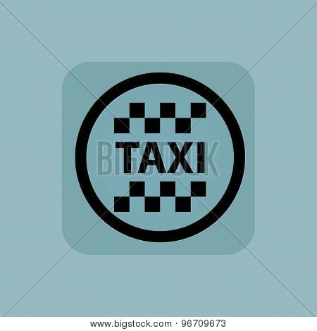 Pale blue taxi sign
