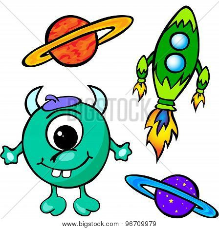 Alien, Rocket And Planet