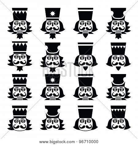 Christmas nutcracker - soldier figurine head black icons set