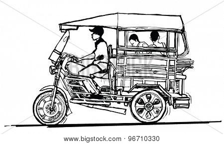 Driving tuk tuk in Laos - vector illustration