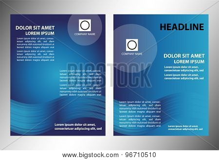 Blue vector leaflet booklet cover design