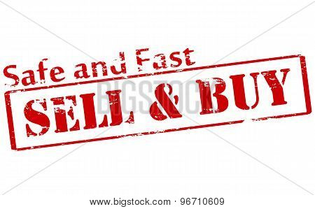 Rubber stamp with text sell and buy inside vector illustration