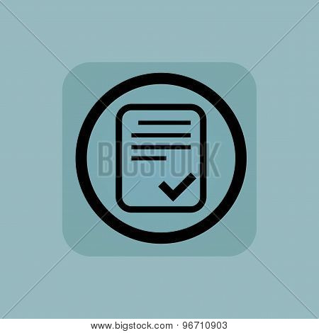 Pale blue approved document sign