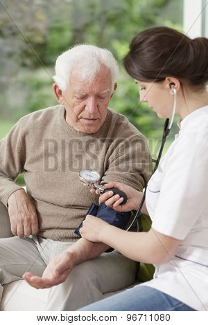 Nurse Holding Blood Pressure Gauge
