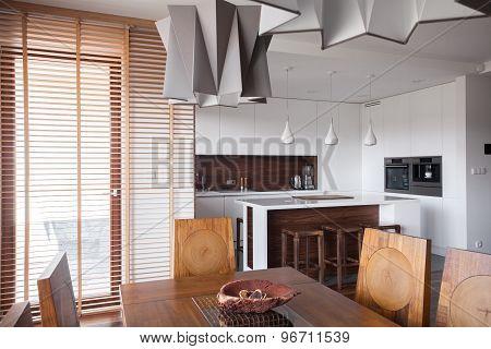 Designed Lamp In Modern Kitchen