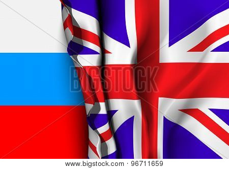 Flag of United Kingdom over the Russia flag.
