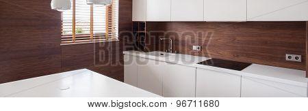 Wooden Walls In White Kitchen