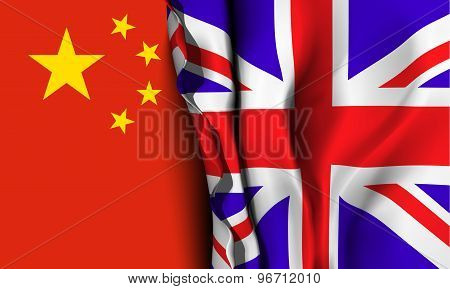 Flag of United Kingdom over the China flag.