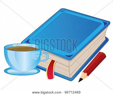 Cup coffee and book