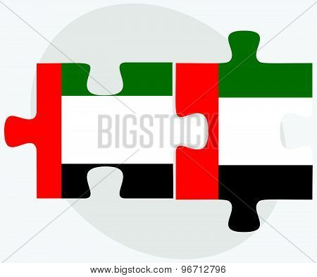 United Arab Emirates And United Arab Emirates Flags