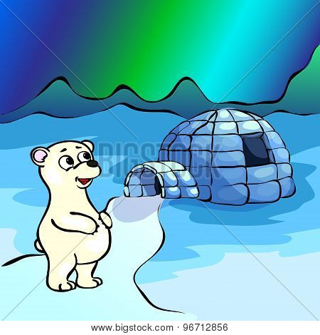 Polar Bear, Ice Yurt Igloo And Nothern Lights