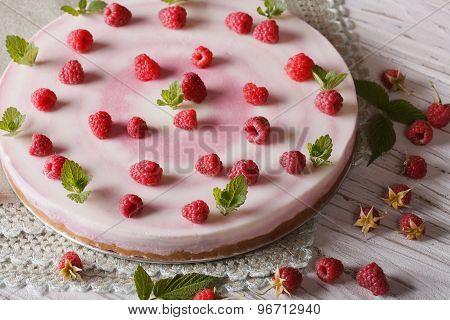 Beautiful Food: Raspberry Cheesecake With Mint Horizontal