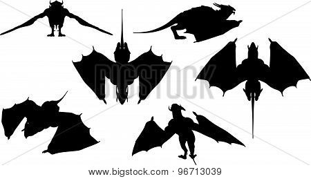 Dragon Silhouette With Fully Fold Wings