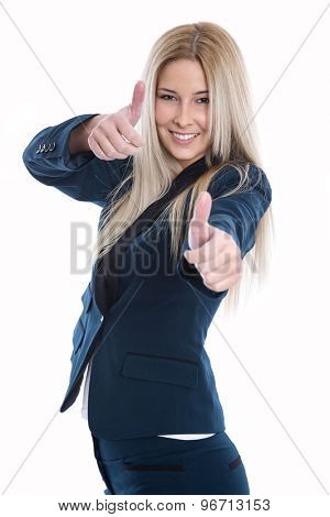Happy beautiful blond woman with thumbs up gesture over white background.