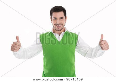 Happy smiling and isolated man in green pullover with thumbs up gesture.